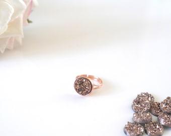 Rose Gold Druzy Ring |  Adjustable | Rose Gold | Multicoloured | Silver | Grey Druzy