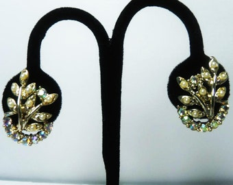 Coro Signed Earrings with AB Rhinestones and Faux Pearls, 1950's Vintage Screwback Earrings
