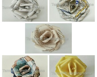 8 Handmade paper roses vintage look book, comic, map, plain and sheet music