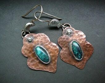 Rustic copper Morrocan earrings turquoise, rustic silver turquoise earrings, blue stone ethnic earrings, gift for her, arabesque earrings