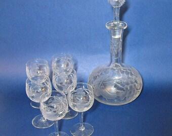 Vintage Etched Crystal Decanter Set - Grape Vine Pattern