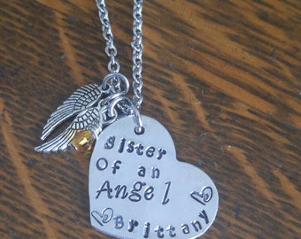 Sister of an angel necklace.Memorial, breavment necklace for a loss of a sister
