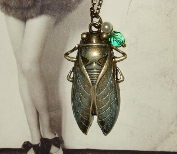 Cicada Necklace, Verdigris Patina, Victoriana Pendant, Vintage Style, Insect Necklace, Bronze Cicada, Green Jewelry, Antique Style Necklace