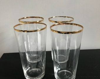 Mid Century Highball Glasses with Gold Rim Set of 4 Modern Water Glasses