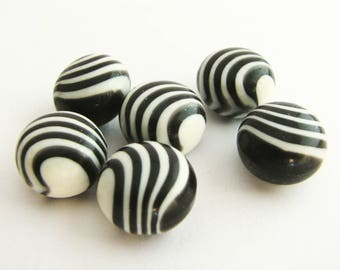 Zebra buttons in ball shape, small black and white buttons, stipy shank buttons for sweaters, unused!!