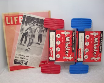 Vintage Wibbler Toy (2) St Louis Old Store Stock 1950's Blue Red
