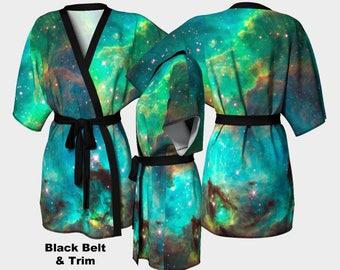 Star Cluster Short Kimono, Cosmic, Nebula, Dressing Gown, Bride Robe, Coverup, Swimsuit Coverup, Robe, Silky Knit Kimono, Chiffon Kimono,