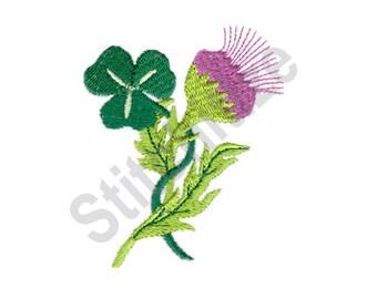 Shamrock And Thistle - Machine Embroidery Design, Irish Scottish