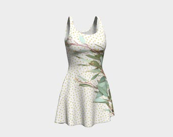 Gorgeous Eucalyptus Leaves on Polka Dots - Skater Dress - Flare Dress