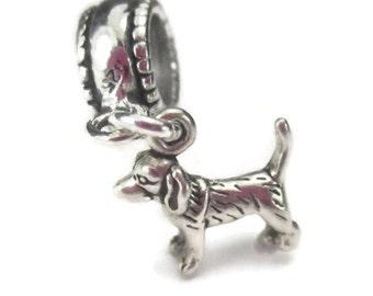 Sterling Silver Dog Charm for European Bracelet Pet Memorial Beagle Hound Terrier