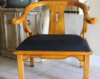 SOLD Do Not Purchase LARGE Vintage Schnadig Chair James Mont Style Ming Wood Brass Accents Light Wood Extra Large Seating Area