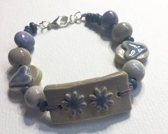 REDUCED - Handmade clay Artisan daisy design bracelet bar  Beaded bracelet Handmade beads Lilac and stone colours