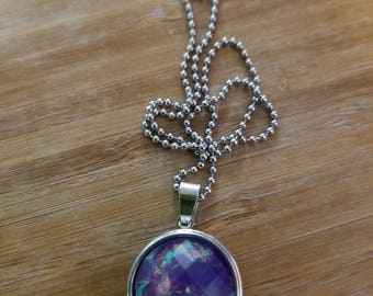 Purple interchangeable charm necklace