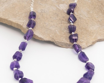 Amethyst Nuggets and Sterling Silver Necklace