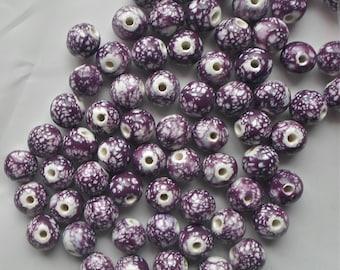 20 x Purple & White Gorgeous Paint Splattered Round Porcelain Ceramic Beads 12mm  P20