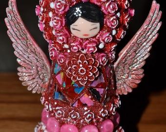 Kokeshi Peg Doll Mosaic Angel