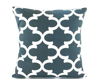 Gray Decorative Throw Pillows Quatrefoil Cushion Covers All Sizes Charcoal Gray White Moroccan Cushion Couch Sofa Pillows Bed Pillows Accent
