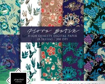 Flora-themed digital paper | 10 sheets