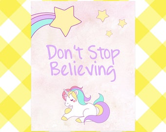 Unicorn Nursery Decor, Instant Download, Printable Wall Art, Don't Stop Believing