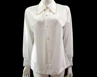 Vintage 80s Rhinestone White Blouse // Understated Blouse// Secretary Blouse // Rhinestone Buttons Blouse// Size L // 154
