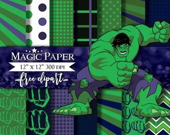 Hulk SuperHeroes SuperHeroe Digital Paper Clipart Clip Art