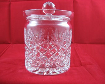 Czech Cut Crystal Biscuit Jar Fan Over Cross Hatch Faceted Handle Crystal Cookie Jar