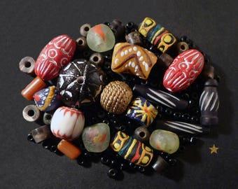 African beads of glass, bone, Horn, brass and Terra cotta