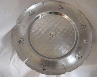 Buenilum Hammered Aluminum Lazy Susan-Rotating Serving Tray-Aluminum Floral Lazy Susan- Vintage Buenilum Buehler-Wanner/BW Buenilum
