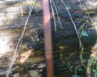 Short double leather leash