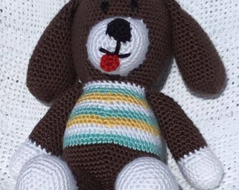 Hand Crocheted Doggie-Dark Brown Face