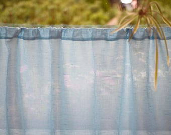 Light Blue Linen Cafe Curtain, Natural Kitchen Valance, Handmade Window Panel, Rustic Privacy Curtains, Cottage Decor