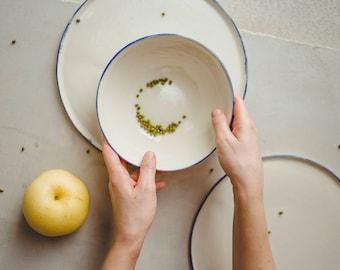 Ceramic plate,ceramic bowl,modern pottery,ceramic dinnerware,dinner plate,dessert bowl,rustic pottery,blue plate,blue bowl,holidays gift