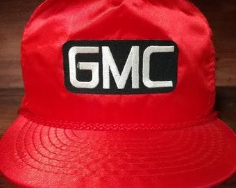 Vintage GMC red silk snapback trucker hat
