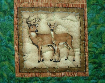 Deer table runner green brown cream and  trees