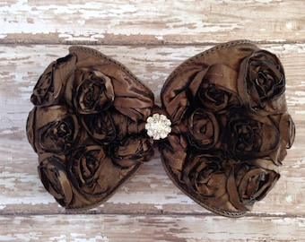 Brown Hair Bow, Satin Brown Rosette Hair Clip, Big Brown Bow, Children Hair Clip, Fall Wedding Hair Accessories, Rosette Brown Bow