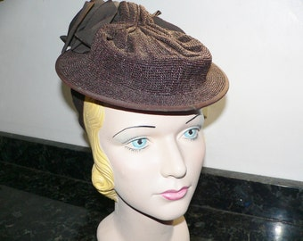 1940's Brown Tilt Hat NY Creation