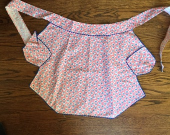 Vintage Pink and Blue Full Apron, Bib Apron, 1940's, Blue Rick Rack Trim