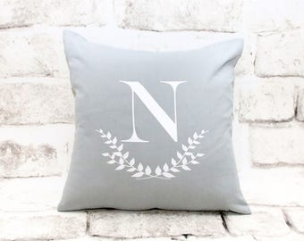 Initial & Laurel Pillow Cover, 16x16