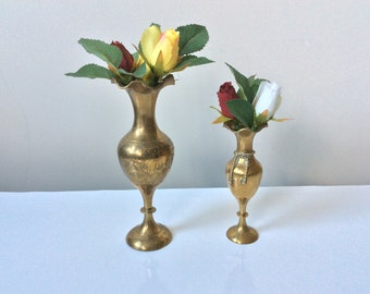 Two gorgeous vintage small and slender brass vases