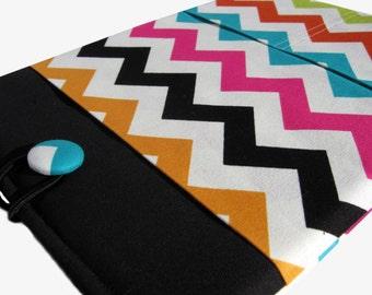 Macbook Pro Sleeve, Macbook Pro Case, 13 inch Macbook Pro Cover, 13 inch Macbook Pro Case, Laptop Sleeve, Cream and Colorful Chevron