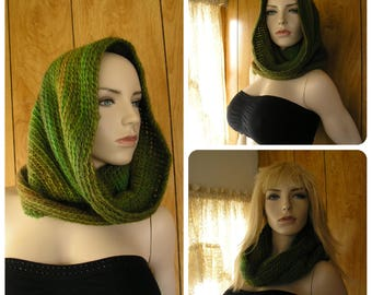 """Crochet wool blend hooded cowl, cowl, infinity scarf, hood, pixie hood, hand crochet in blended shades of green, 28"""" around and 17"""" long"""