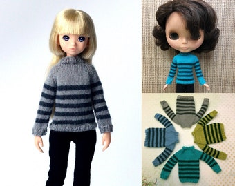 Striped sweaters for Ruruko or Blythe doll