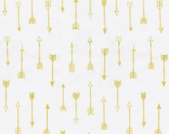 White and Gold Arrows Fabric - By The Yard - Gender Neutral / Boy / Girl