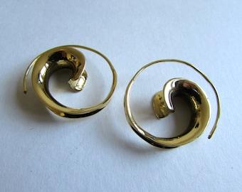 Spiral Brass Earrings handmade, Tribal Earrings, Nickel Free, Gift boxed, Free UK postage BG11