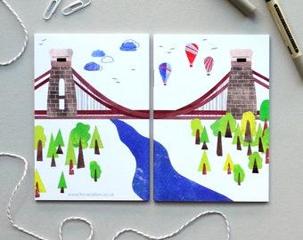Clifton Suspension Bridge Notebook| A6 Notebook | Pocket Notebook | Illustrated Bristol Notebook | Bristol Bridge | Notebook Gift