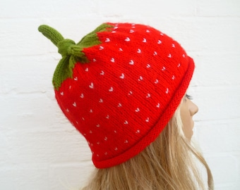Hand Knitted Strawberry Fruit Hat - Hand Knit Hat - Strawberry Beanie Hat - Women Men Strawberry Hat - Kawaii Knitted Hat - ClickClackKnits