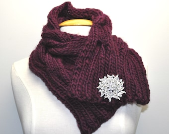 Knit Cable Cowl in Plum with decorative pin