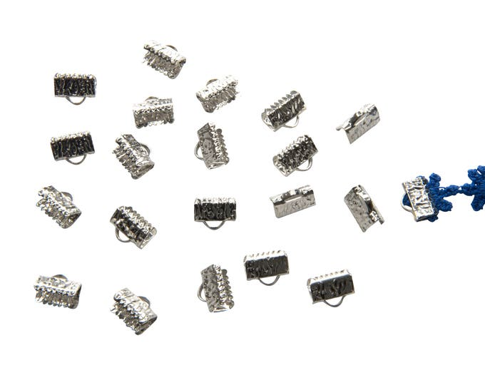 150 pieces 10mm or 3/8 inch Platinum Silver Ribbon Clamp End Crimps - with or without loop - Artisan Series
