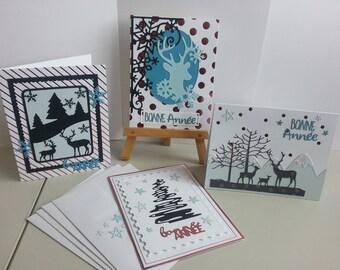 Lot 4 cartes de voeux de nouvelle année façon scrapbooking