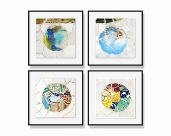 Wall Art set, Gallery wall prints, Set of 4 photos, Office wall art, Abstract art print, Fine art photography, Gaudi, Barcelona